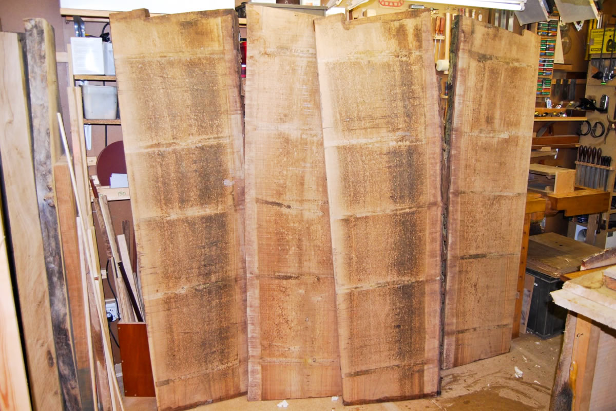Prime boards of grained English walnut