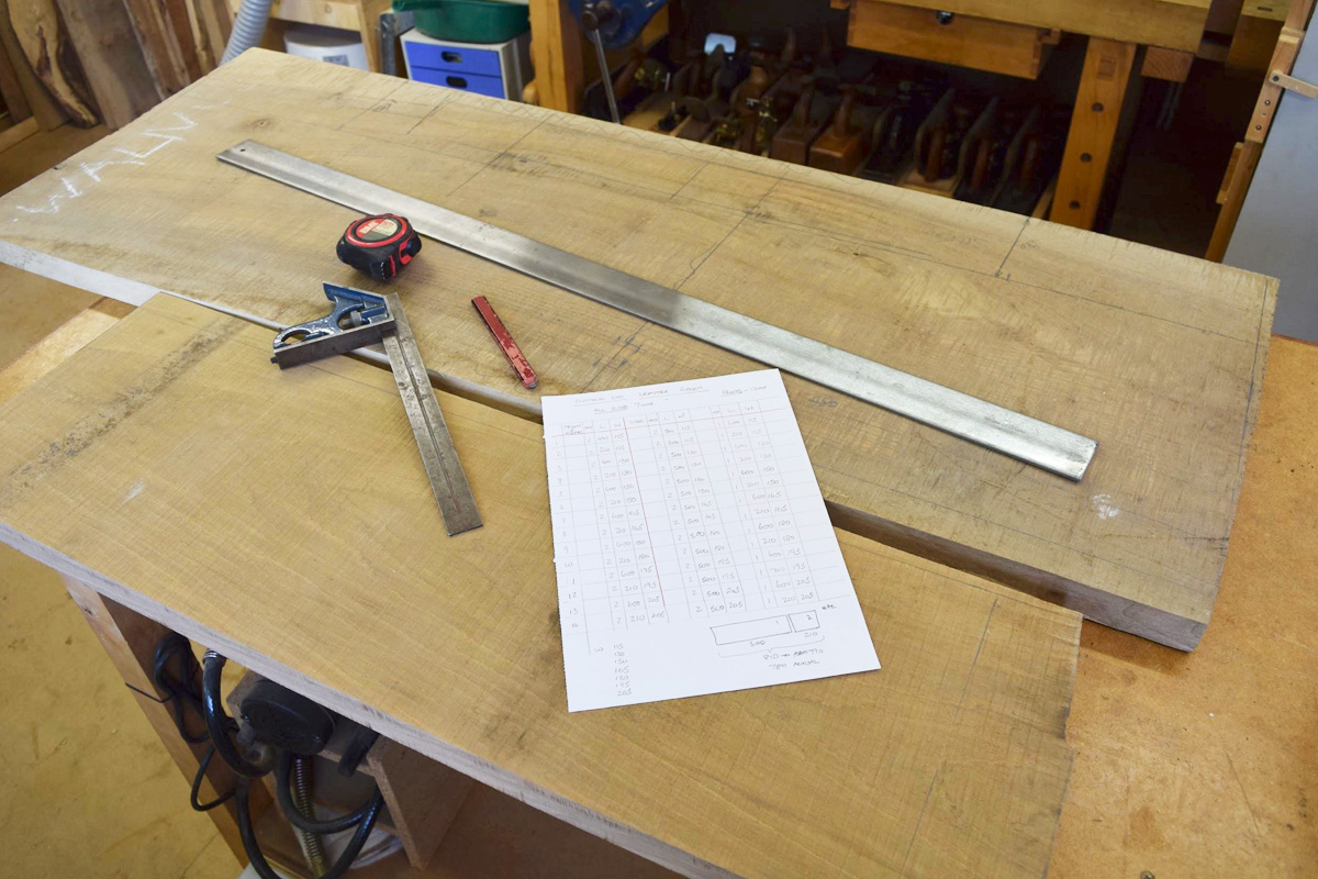 English walnut boards and the cutting list