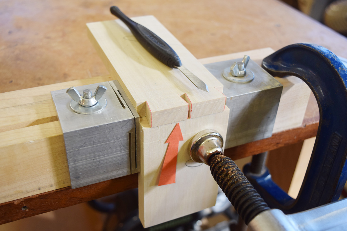 Wood clamped in place ready for marking the pins