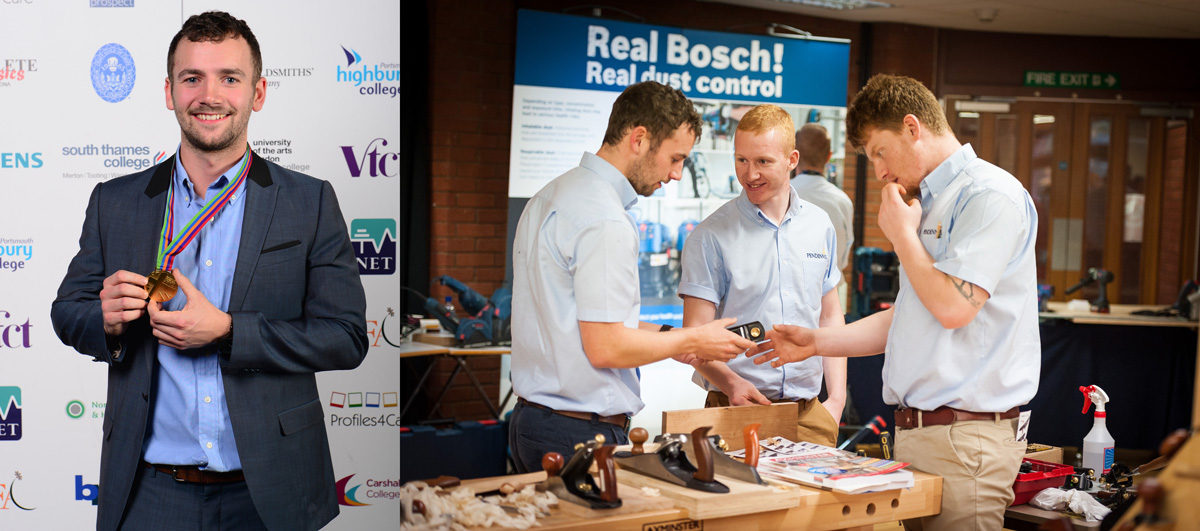 Left: Adam takes gold at the Skills Show. Right: Adam and other Pendennis apprentices at the Discover Axminster event.