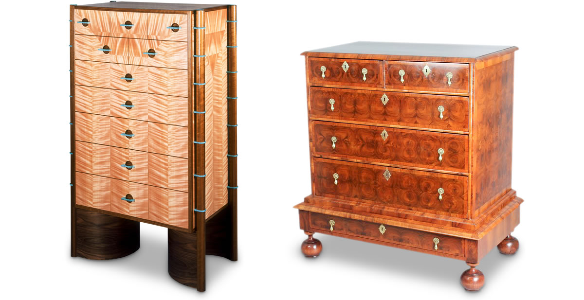 Left: Robert Ingham chest of drawers. Right: William & Mary chest in walnut with laburnum oyster veneers.
