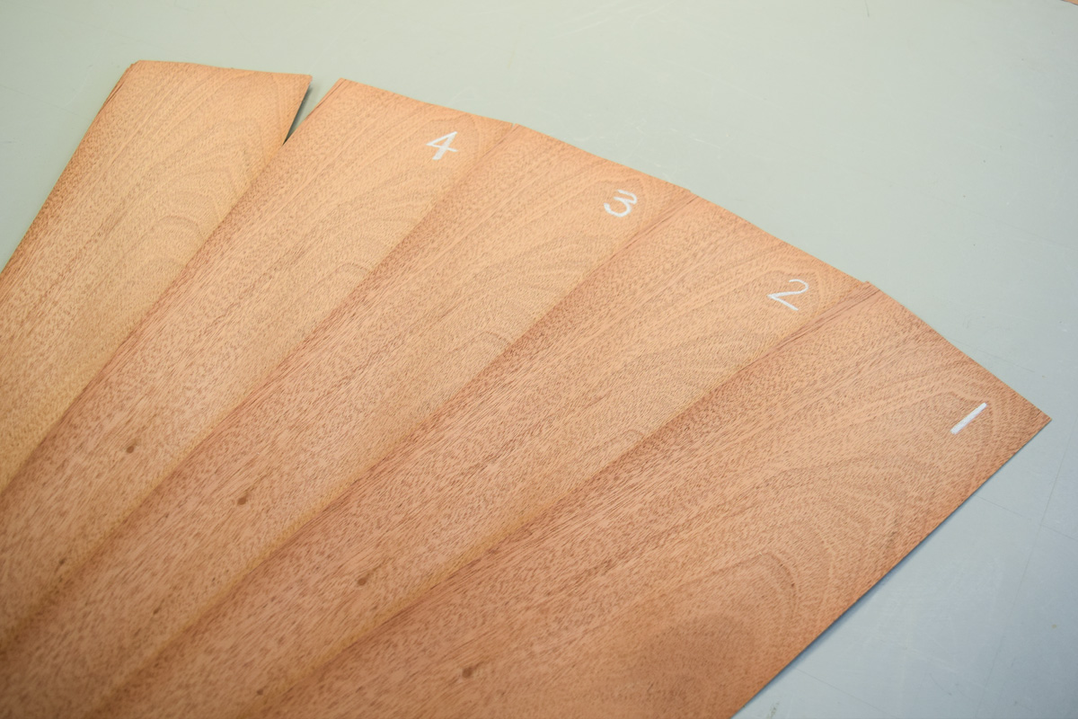 Mahogany veneers numbered in sequence