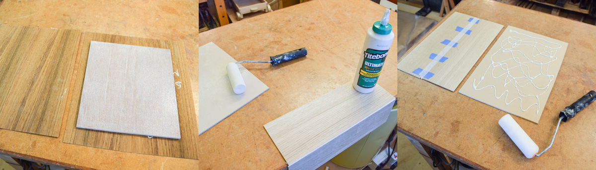 Left: applying glue to substrate, commercial veneer. Centre: applying glue to the join line, bandsawn veneer. Right: applying glue with a roller, bandsawn veneer.