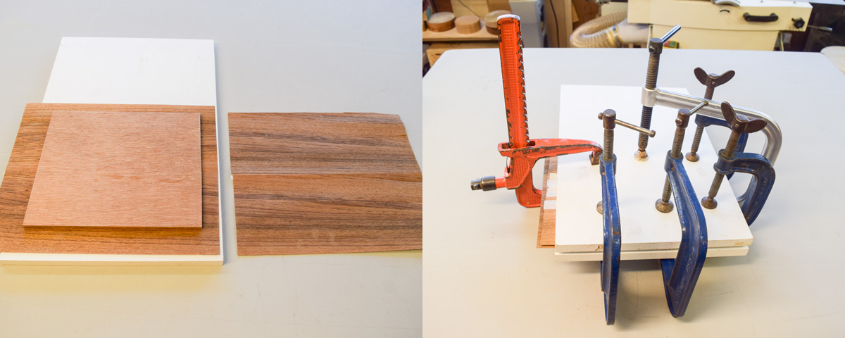 Left: boards and veneer. Right: boards clamped.