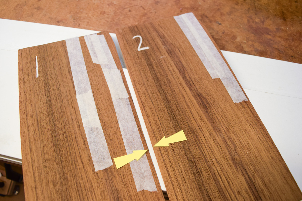 Slip matched join (arrowed)