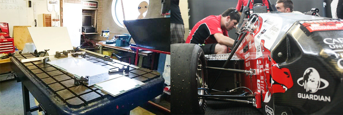 Left: chassis construction. Right: working on the car.