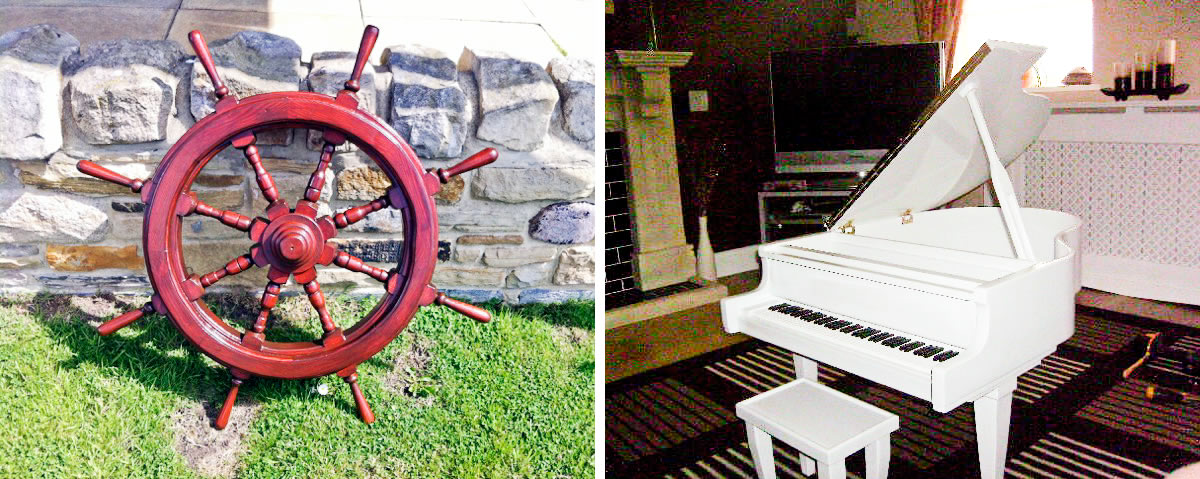 Left: Ships Wheel, Right: Coffee Table - Douglas Morgan