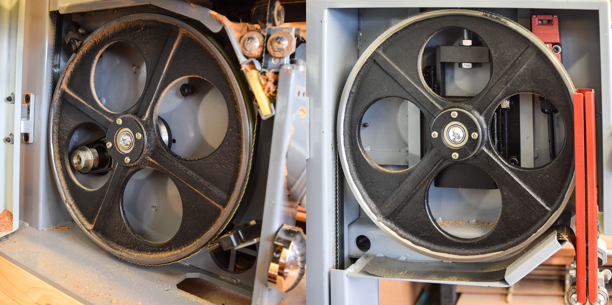 Left: lower wheel. Right: upper wheel.