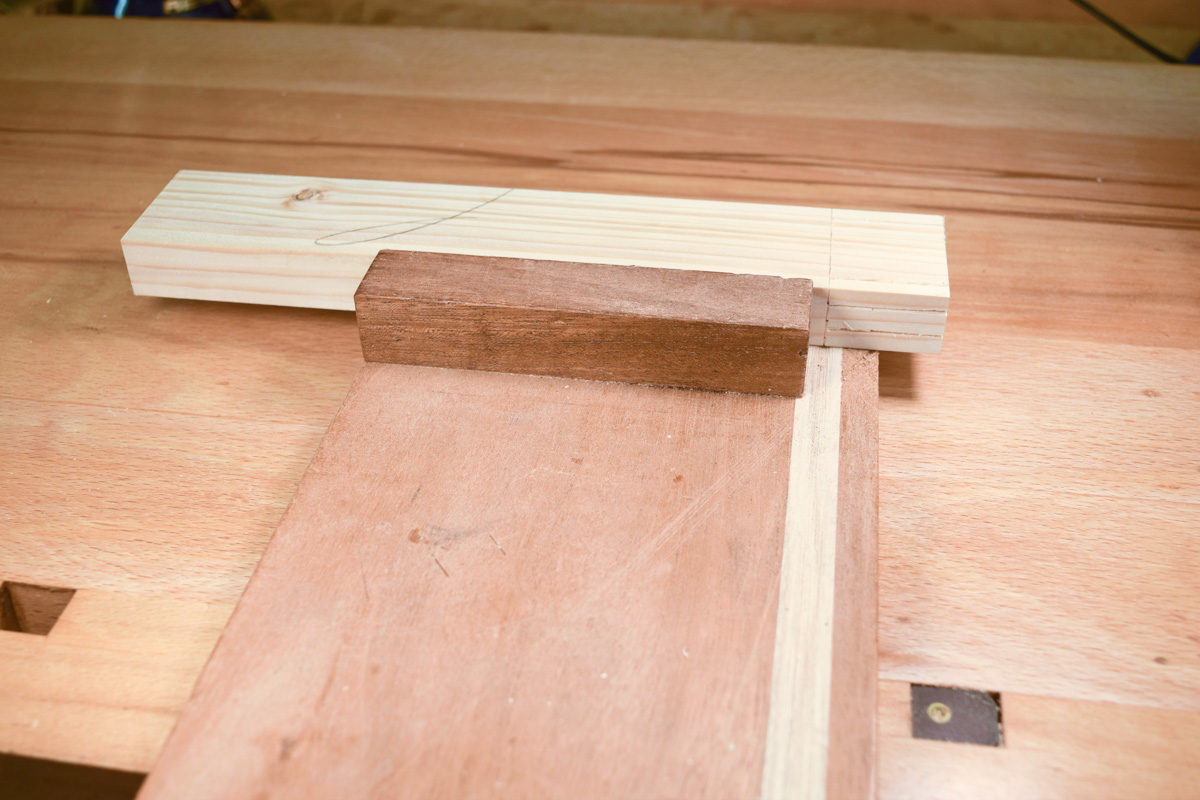 Tenon material on bench hook