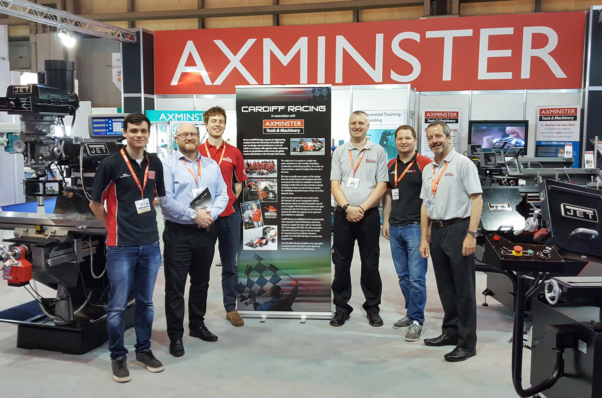 Axminster Business Services team with students from Cardiff University's Cardiff Racing team. L to R: Ben Chappell, Mark O'Halloran, Tom Murray, Antony Jempson, Lee Trehern & Mark Vincent.