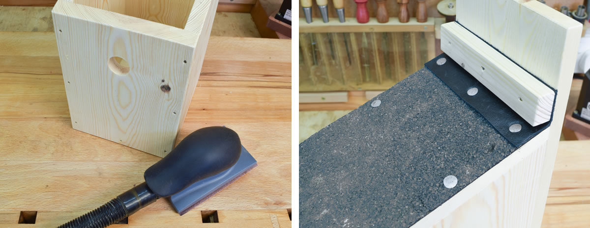 Left: Smooth corners. Right: Create sharp pivot point to prevent the lid slipping down