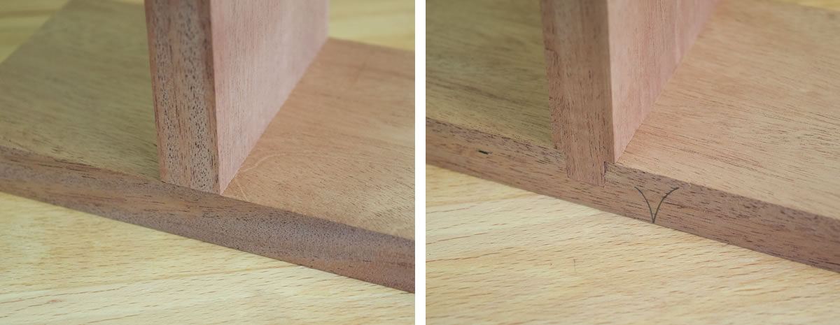 Completed joint. Left: Front. Right: Rear