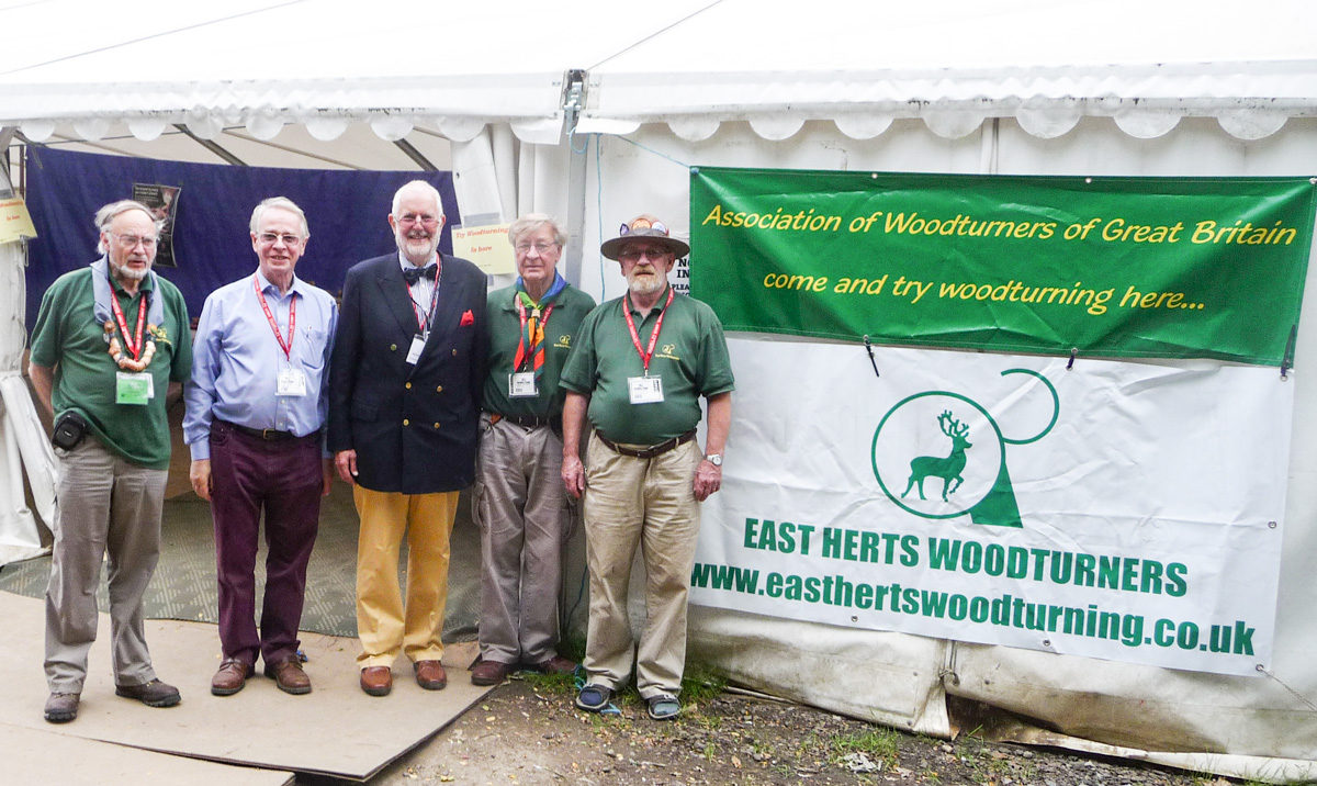L to R: John Leach (co -organiser of woodturning at Gilwell 24), Peter Gibson (a past Master and Chairman of the WCT Craft Committee), Nicholas Somers (Master of the Worshipful Company of Turners), Dennis Day ( Chairman of East Herts Woodturning Association) and Mike Rothwell (co -organiser of woodturning at Gilwell 24)