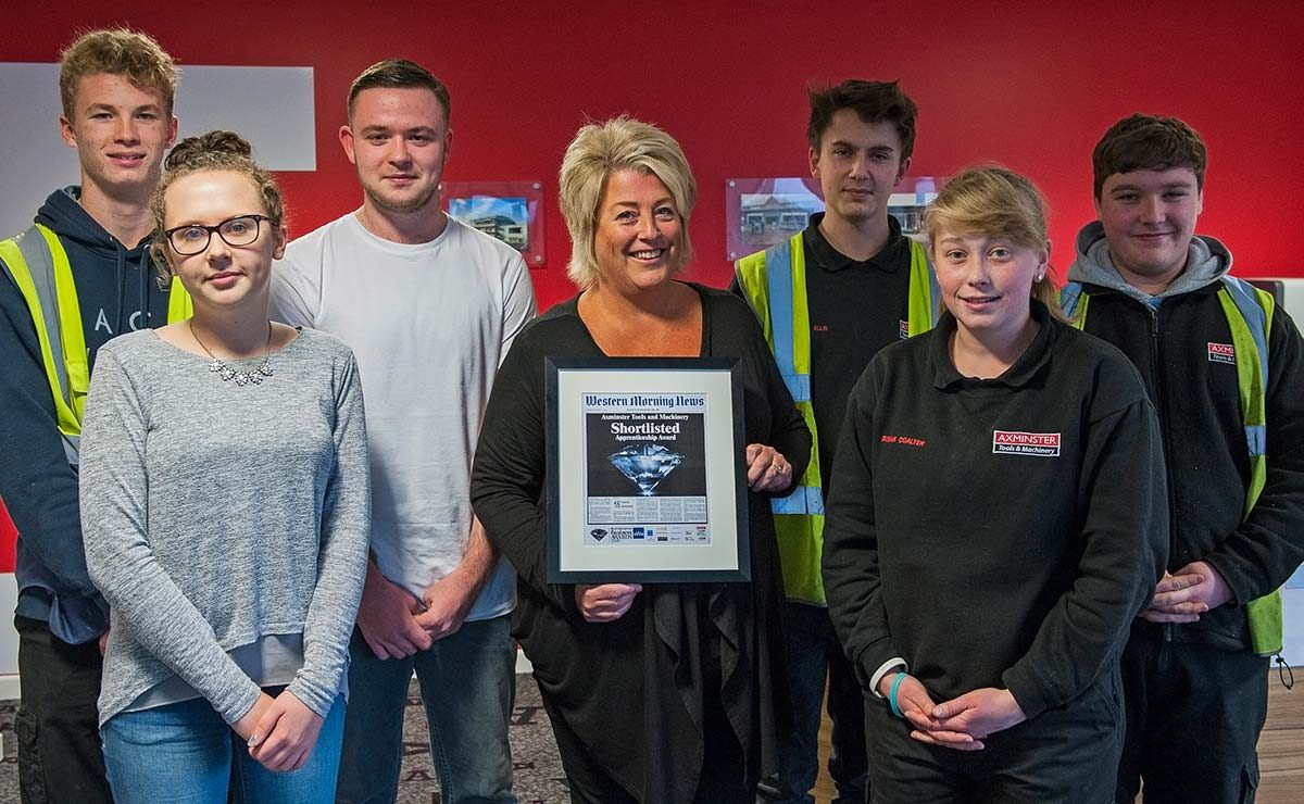 HR director Jane Boulton (centre) with the current intake of apprentices.
