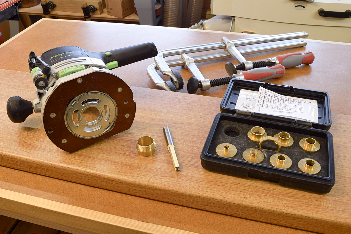 Router, guide bushes, cutters and clamps