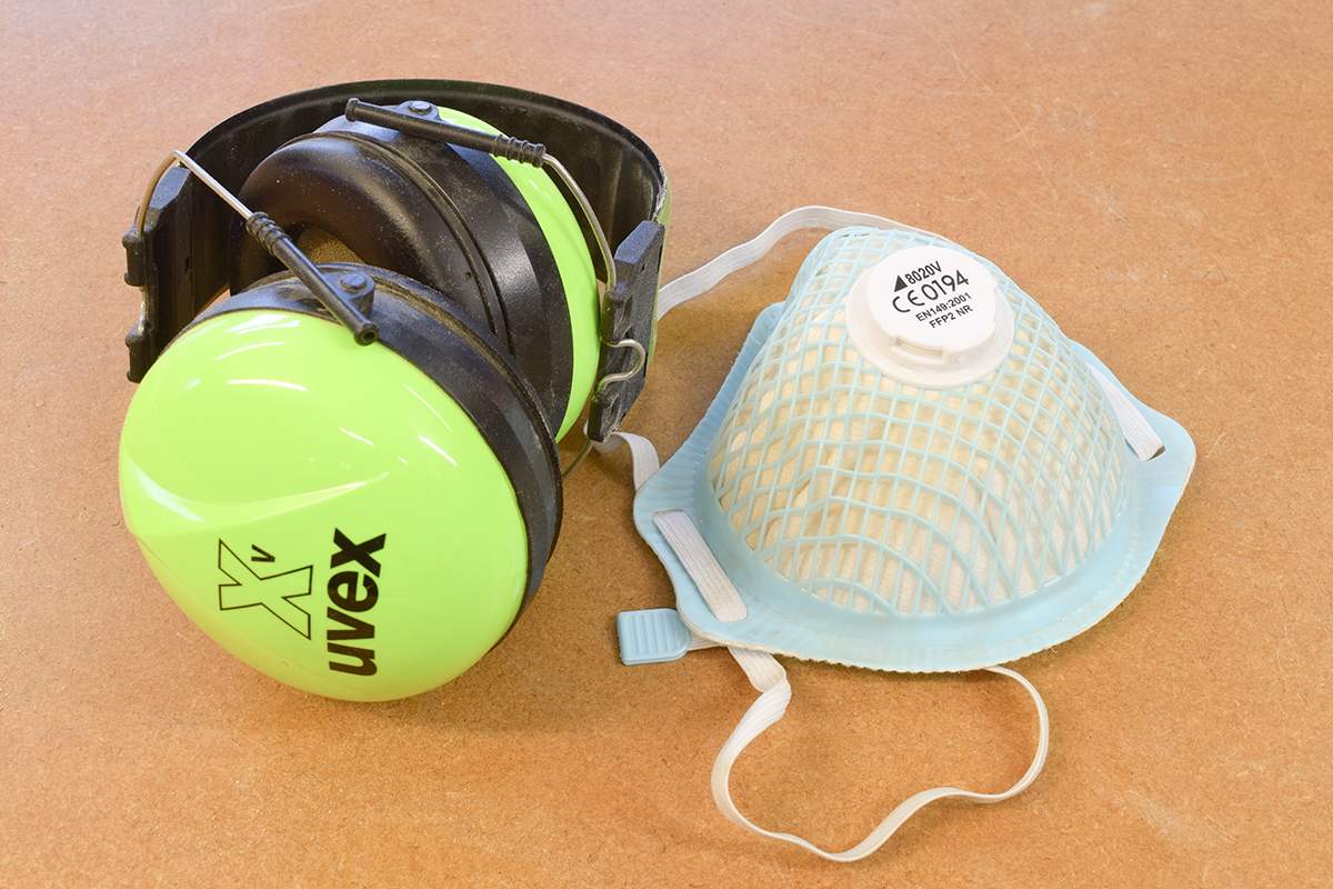 Ear defenders and dust mask