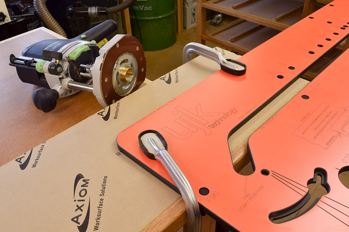 Jig positioned and clamped
