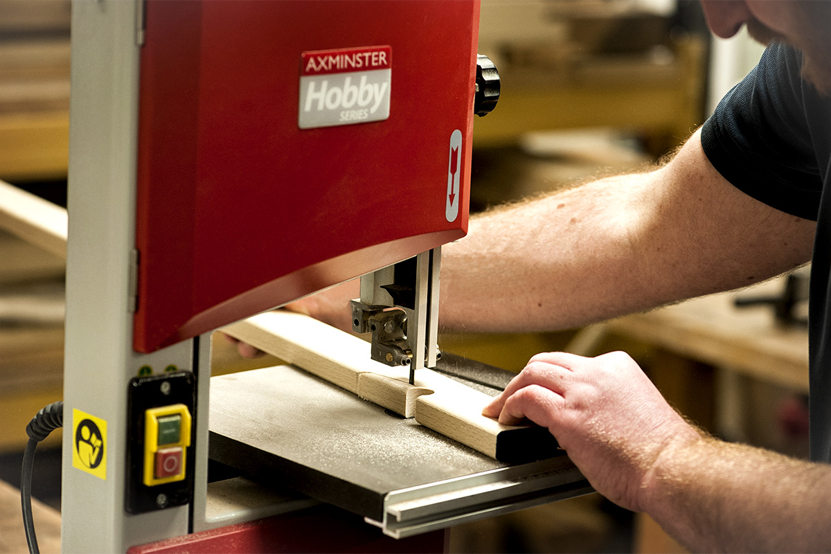 Cut out support slots with a bandsaw