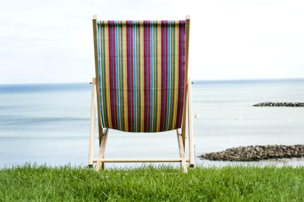 The finished Deckchair On grass looking out to sea