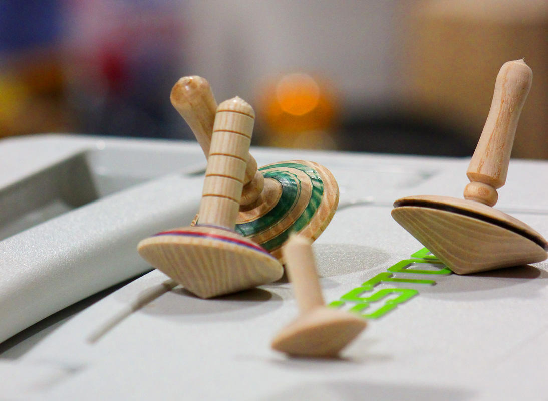Wood Turned Spinning Tops