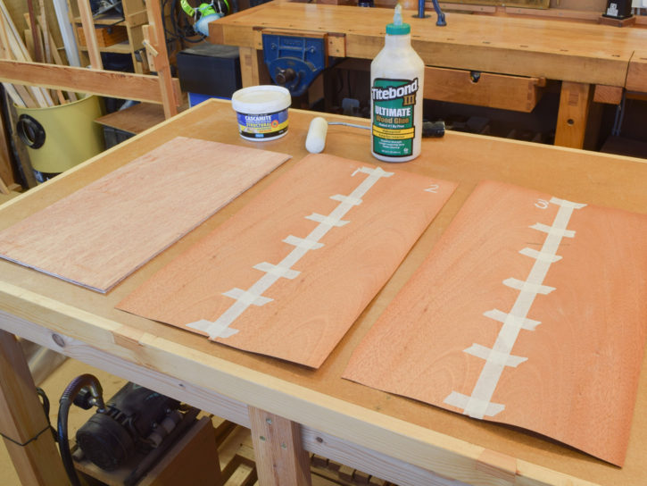Veneer leaves substrate glue and roller