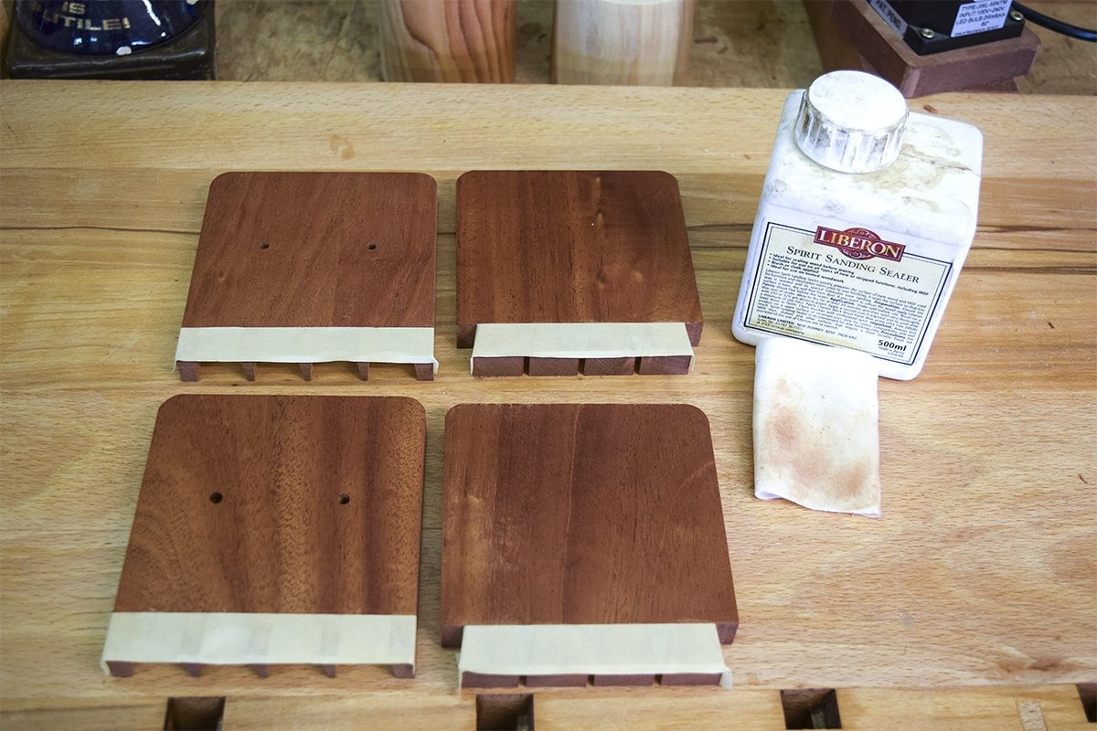 4 sections of mahogany with applied spirit sealer.