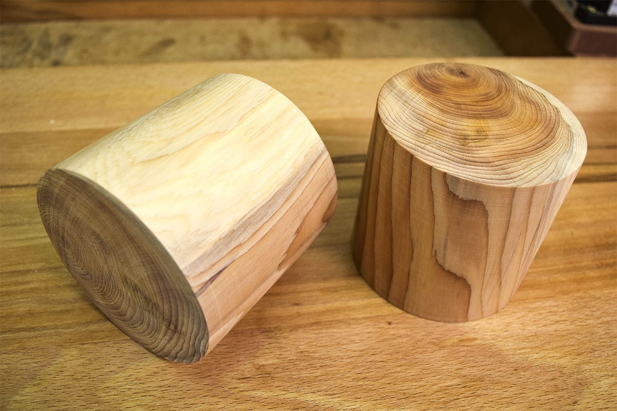 2 completed turned sections of Yew as decoration for the bookends.