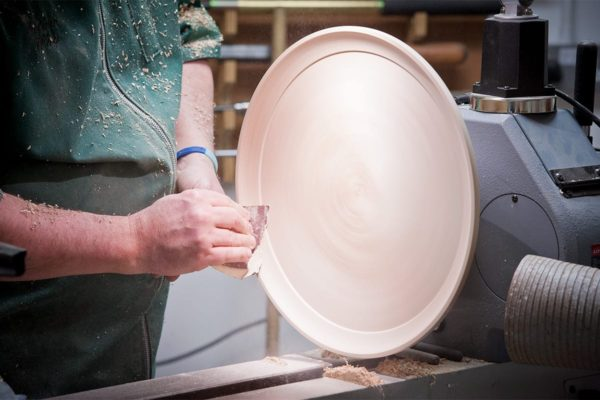 Sanding down the upper side of the platter top
