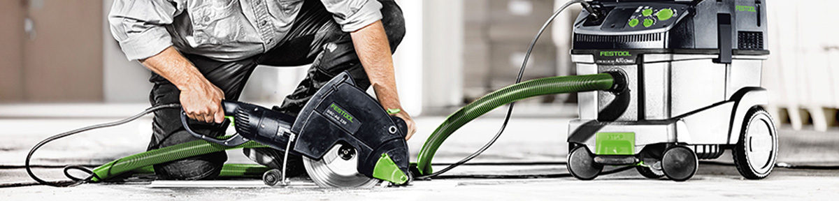 Festool extractor being used with circular saw