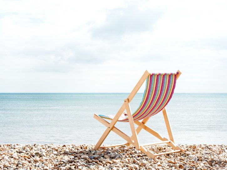 Finished Deckchair Looking Out To Sea