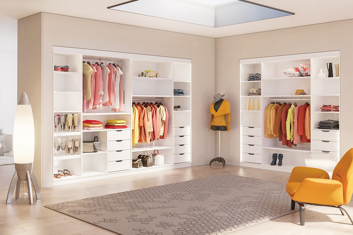 Wardrobes and shelving built using Lamello Cabineo
