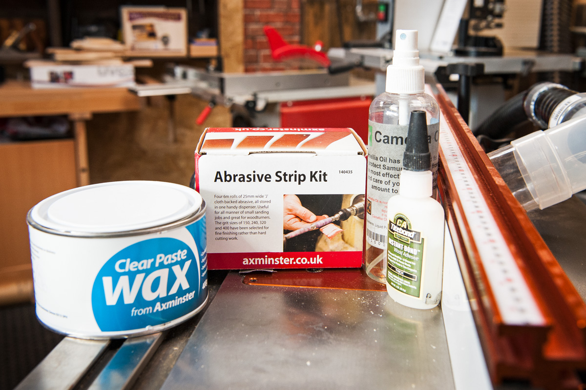Products used being displayed, including Abrasive strip kit, Clear wax, Titebond instant glue. Camellia oil