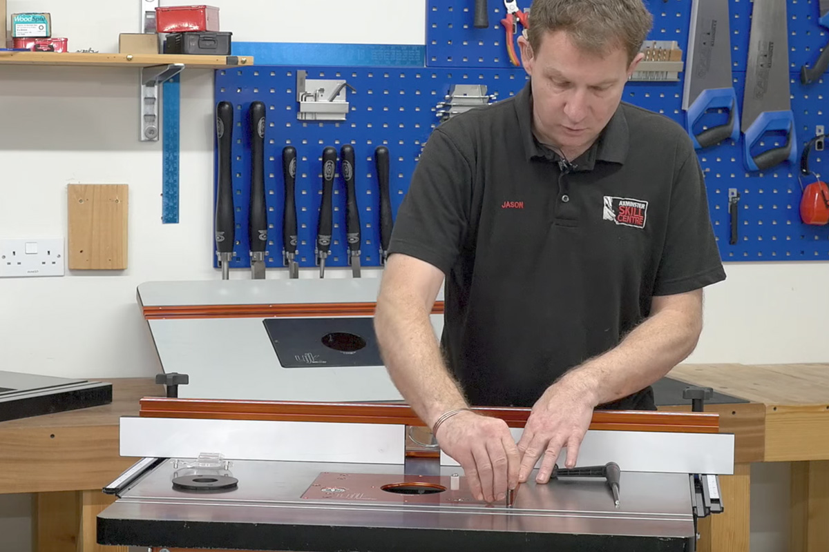 How to set up your router table the knowledge blog tightening the bolts to make the table level keyboard keysfo Images