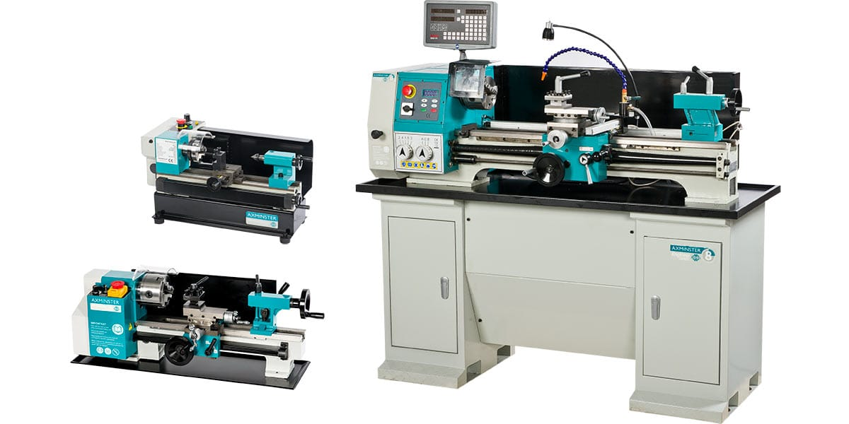 Axminster Model Engineer Series C0 Micro, C2-300 Mini and Engineer Series SC8-AX2 lathes