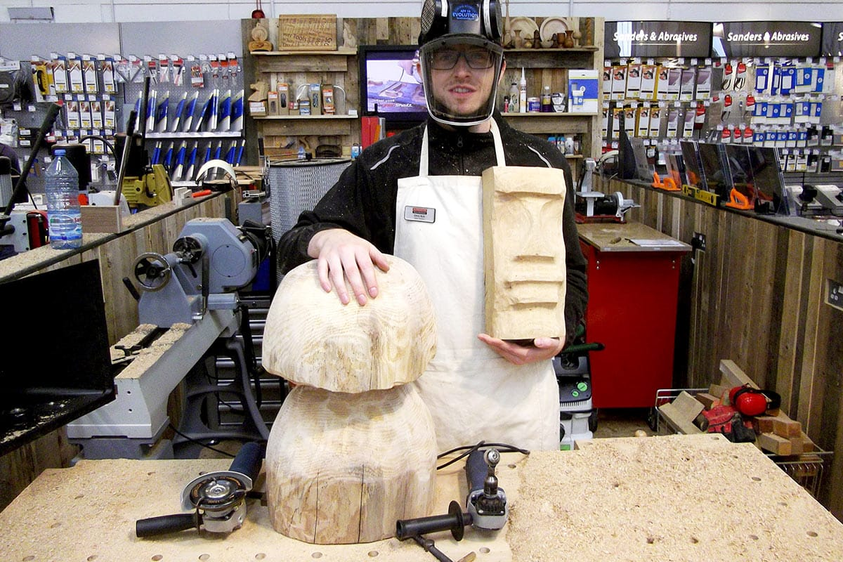 Chris Kirk, carving with Arbortech