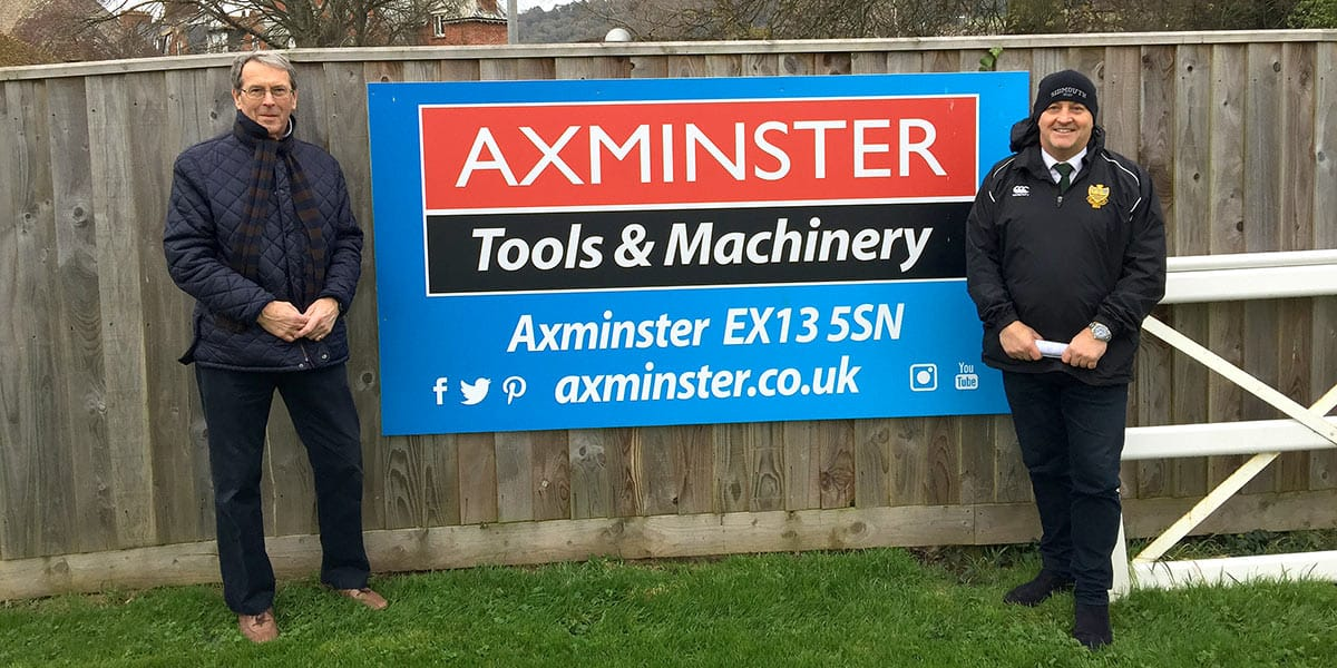 Axminster sign at Sidmouth RFC