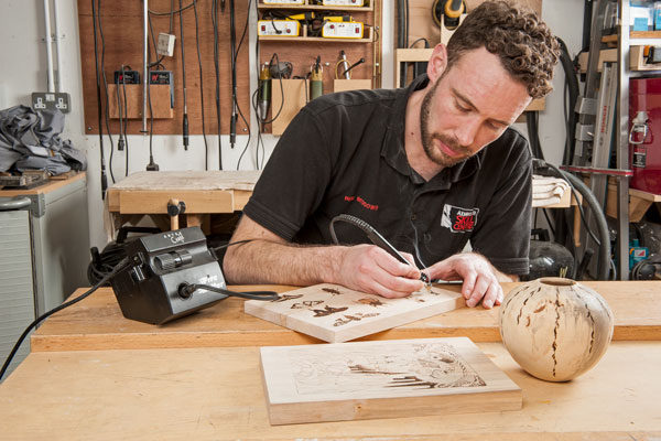 Ben Beddows demonstrating pyrography