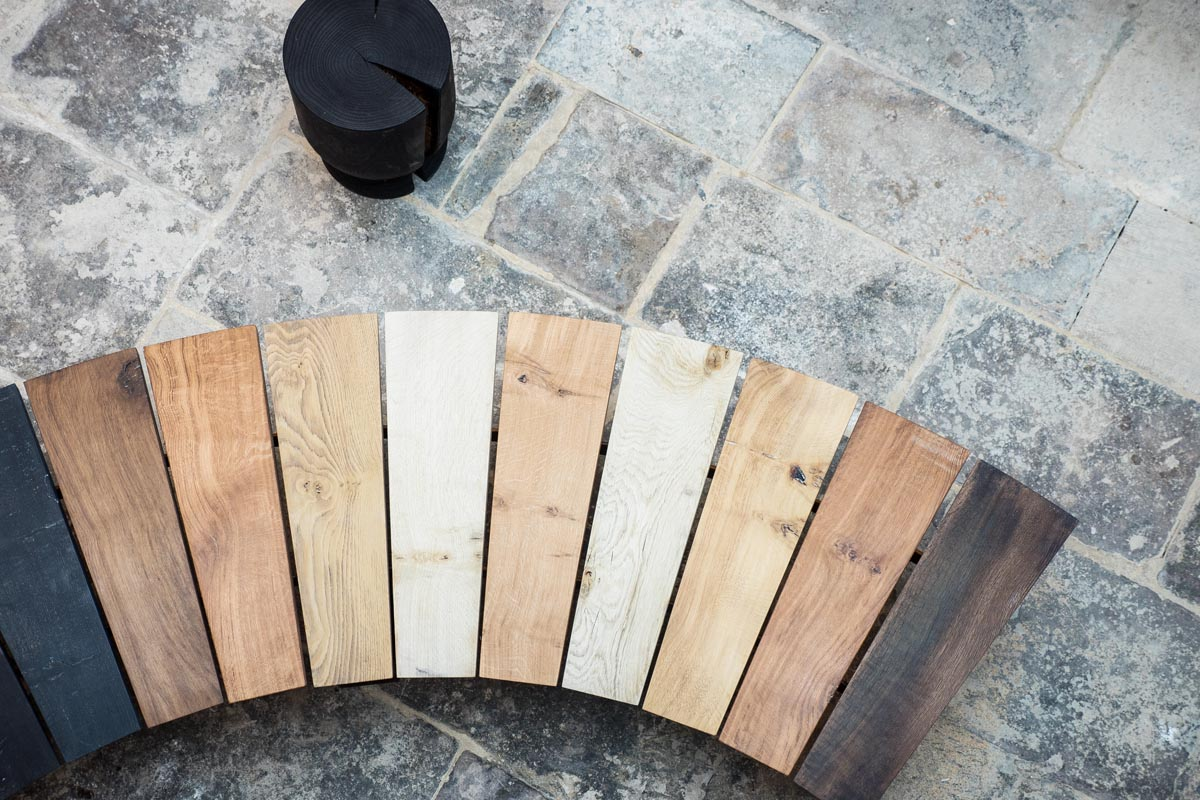 Aerial shot of wooden bench and stool
