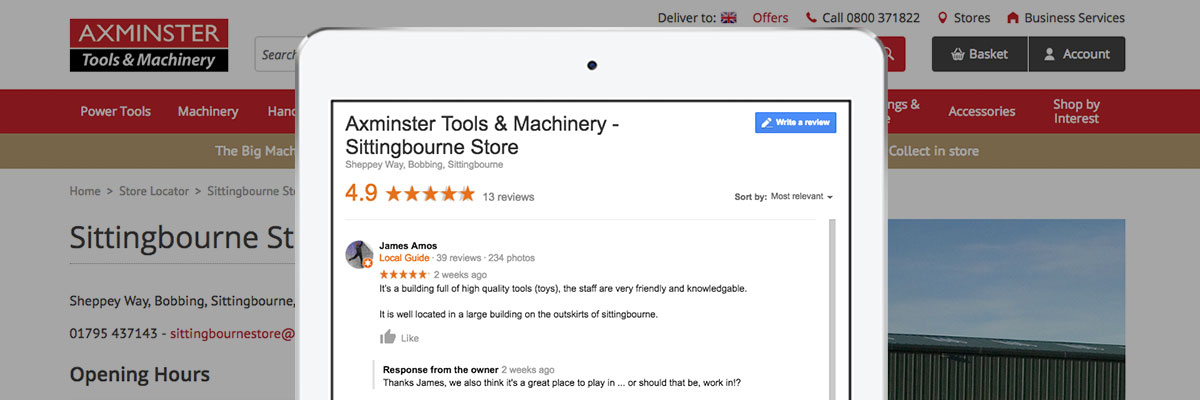 Google review for Sittingbourne Store