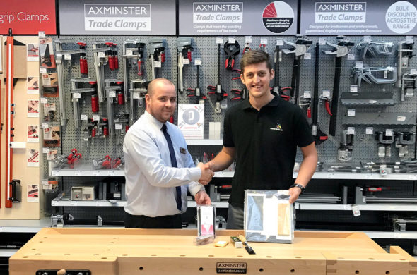 Manager Lee (left) gifting items from our Axminster Rider and Lie-Nielsen range to Christopher Caine, who is competing in the Joinery category at the EuroSkills 2018 in Budapest