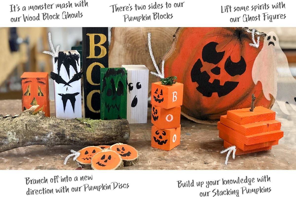 Branch off into a new direction with our Pumpkin Discs… There's two sides to our Pumpkin Blocks... It's a monster mash with our Wood Block Ghouls... Build up your knowledge with our Stacking Pumpkins... Lift some spirits with our Ghost Figures
