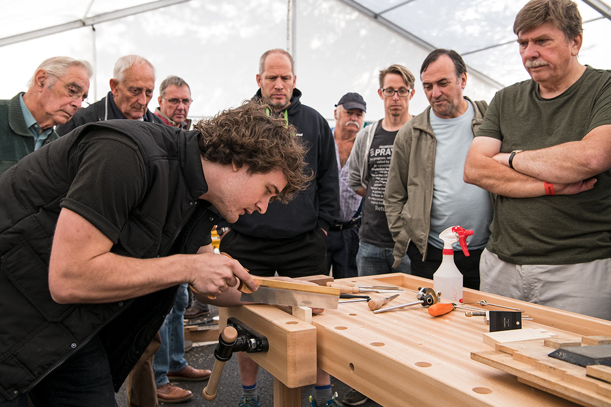 Matt Estlea demonstrating how to create dovetail joints by hand