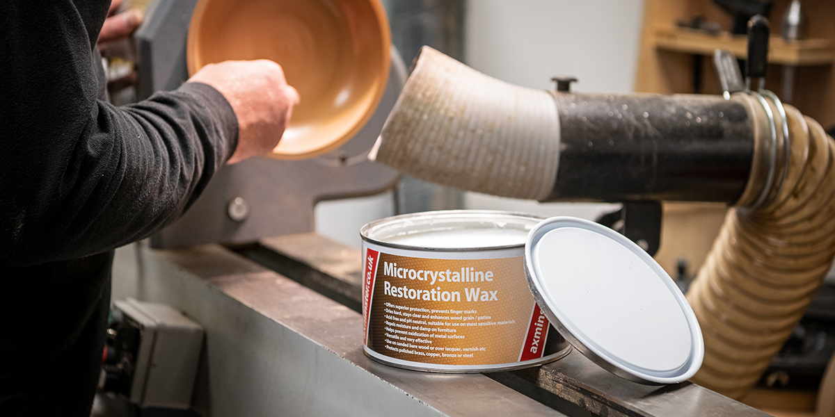 Axminster Microcrystalline Wax in use on a woodturning project