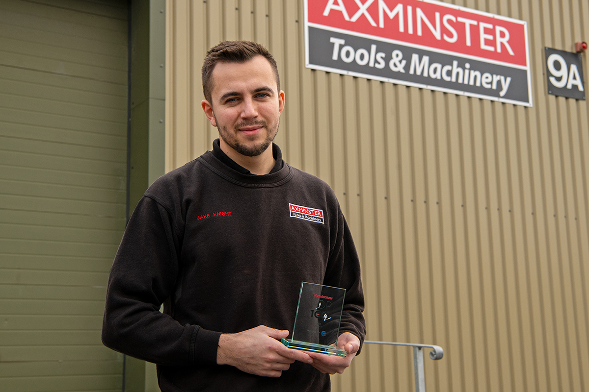 Jake Knight, Head Engineer at Axminster, with his award