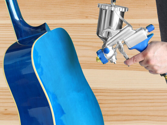 Spraying a guitar